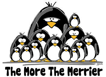 "A large group of cartoon penguins with the caption ""The More The Merrier"""