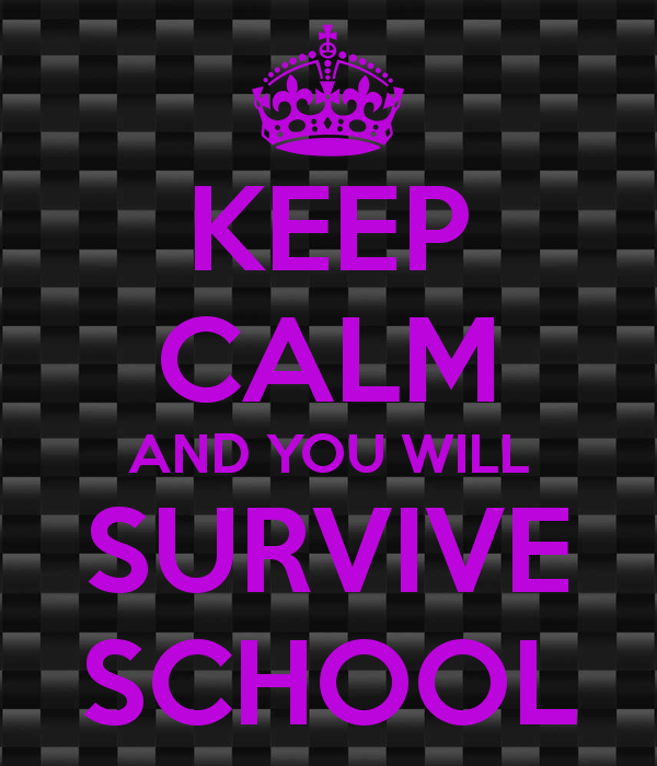 "Image that says ""keep calm and you will survive school"""