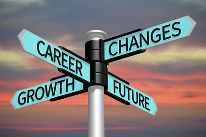 Sign showing career changes, growth and future